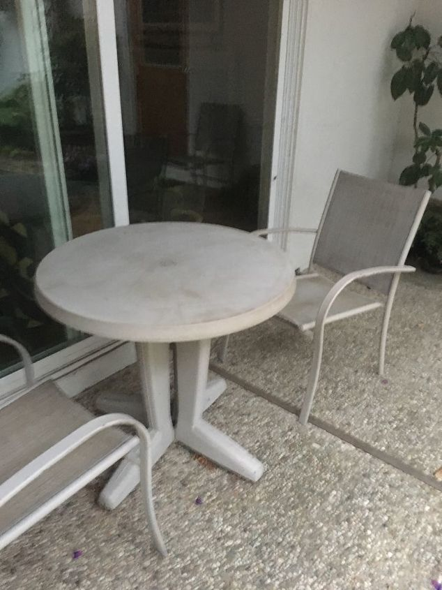 q how to do a makeover for our small round plastic patio table