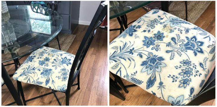 repurposed curtains into chair cushions
