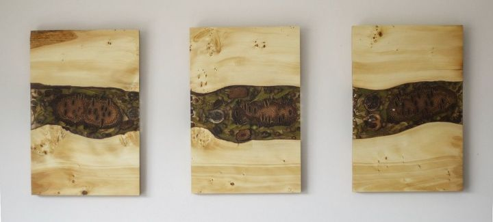 resin wood triptych wall art
