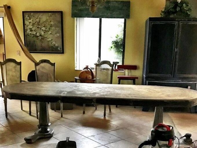 feather finish dining table update