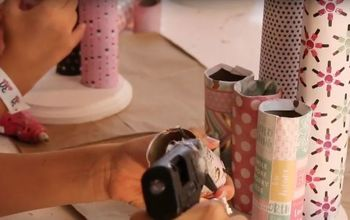 make a diy hair accessory holder from paper rolls