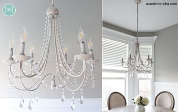 DIY Crystal Distressed  Chandelier