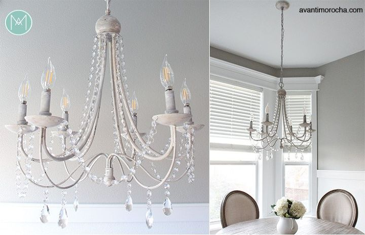 Diy crystal distressed chandelier hometalk crystal chandelier mozeypictures