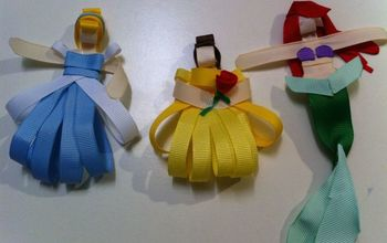 Disney Princess Hair Clip Made Out of Ribbon...Snow White, Belle