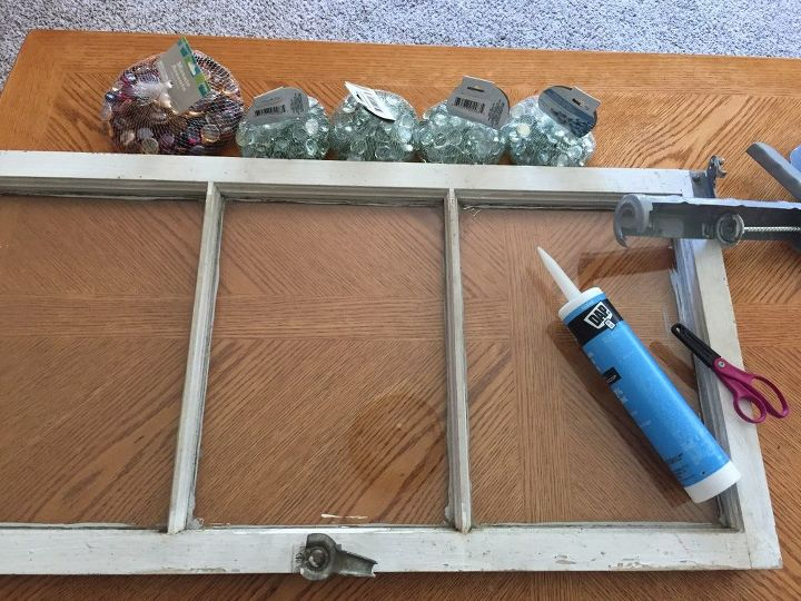 dollar store beads and old antique window 2