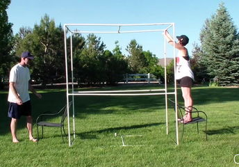 how to make easy yard games with pvc pipe
