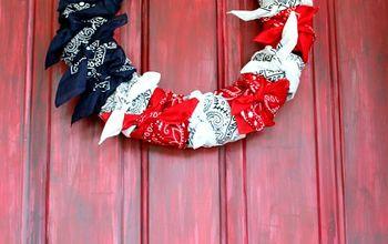 American Flag Wreath Made With Bandanas