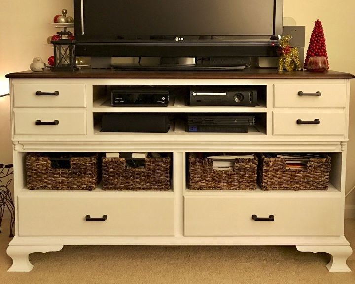 Old Dresser Turned Into Modern Tv Stand
