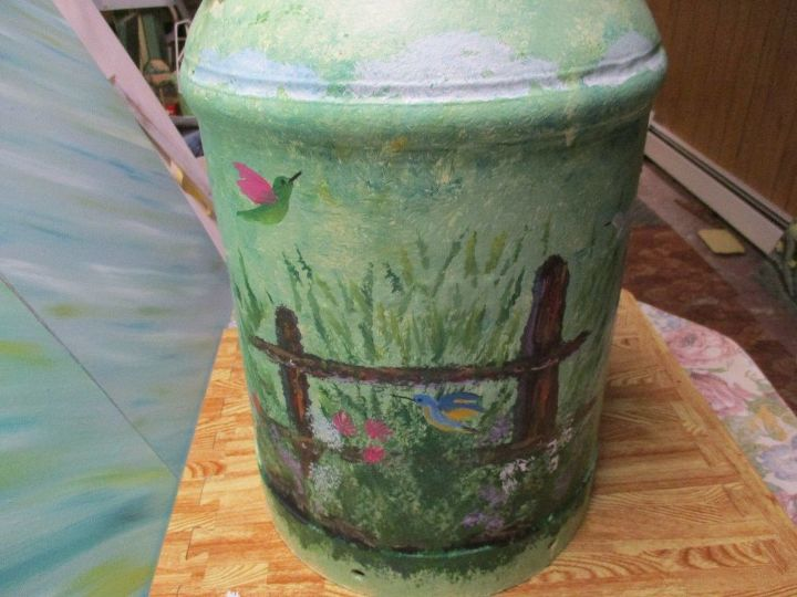 repurposed vintage milk can painted for a christmas gift