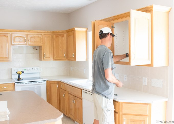 Painting Your Kitchen Cabinets Is No Small Undertaking: $10 Dollar Mini Kitchen Makeover