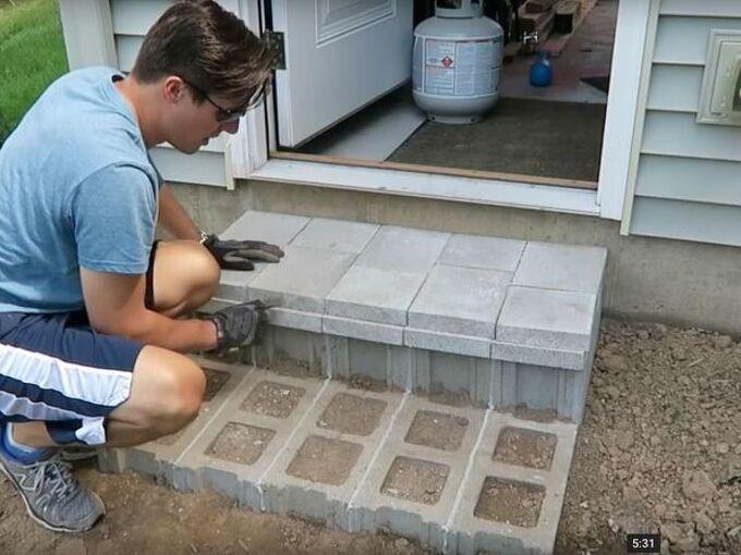 how to build cinder block steps