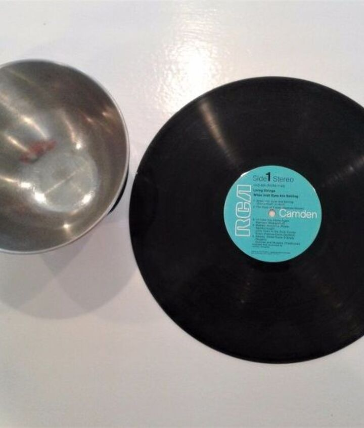 upcycled record into an office organizer