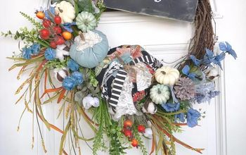 fabric pumpkin hello fall wreath