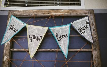 diy garland signs using old book pages