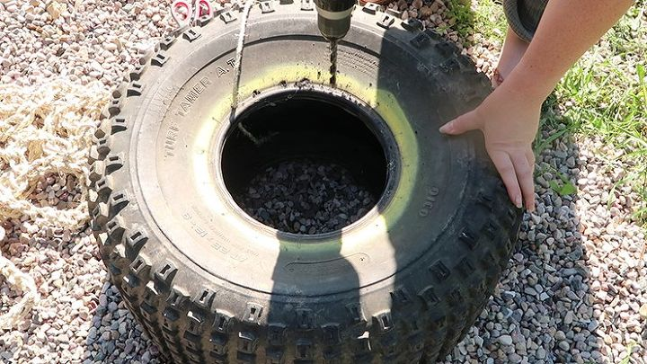 make a recycled tire ottoman