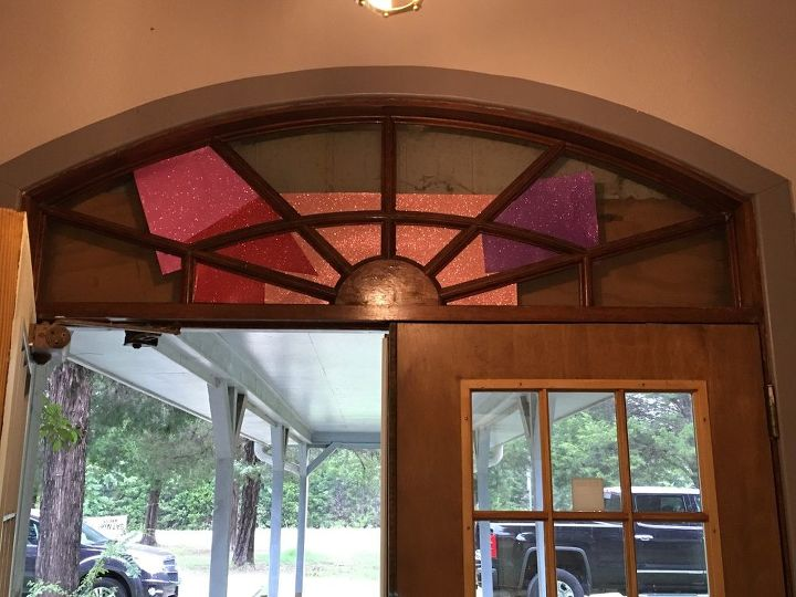 q how can i create a great looking window above our church entry door