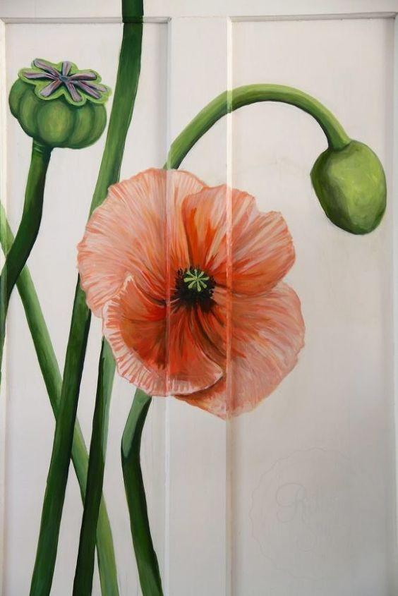 vintage door painted poppy makeover
