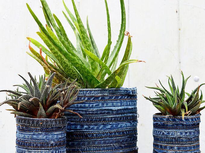 unique gorgeous no sew recycled jeans planter