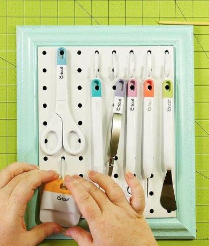 framed pegboard craft tool organizer