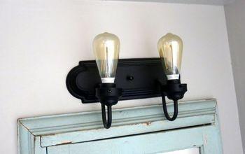 transform your boring builder grade vanity light with spray paint