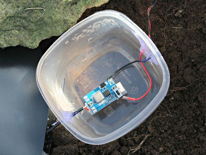 making a solar powered waterfall for our fairy herb garden