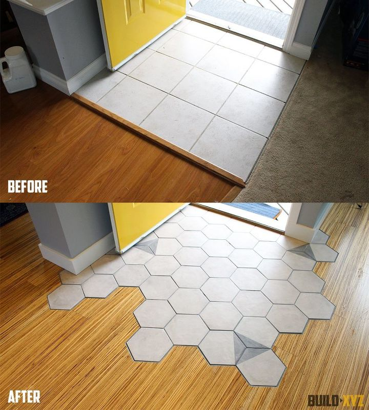 Foyer Tile To Wood Transition : Hexagon tile floor gurus