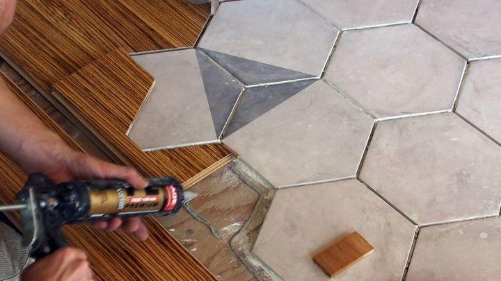 hexagon tile floor transition entrance