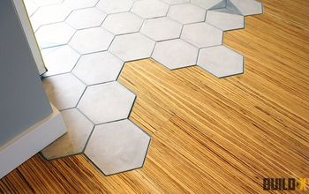 hexagon tile floor transition entrance