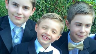 , My three grandsons at a wedding the lights of my life