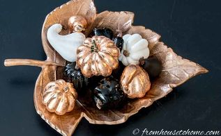 how to upgrade ugly fake pumpkins into pretty copper fall decor