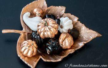 how to upgrade ugly fake pumpkins into pretty copper fall decor