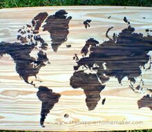 print world map on wooden board with stains
