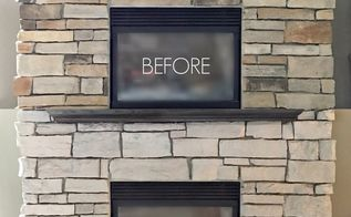 how i painted my stone fireplace