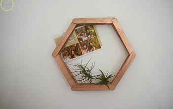 DIY Popsicle Stick Hexagon Shelf