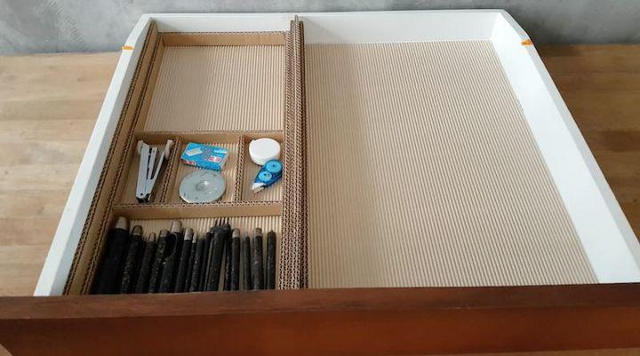 diy desk drawer organizer with sliding trays from cardboard box