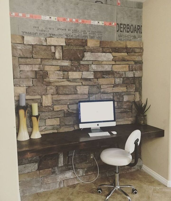 diy stone accent wall on a budget