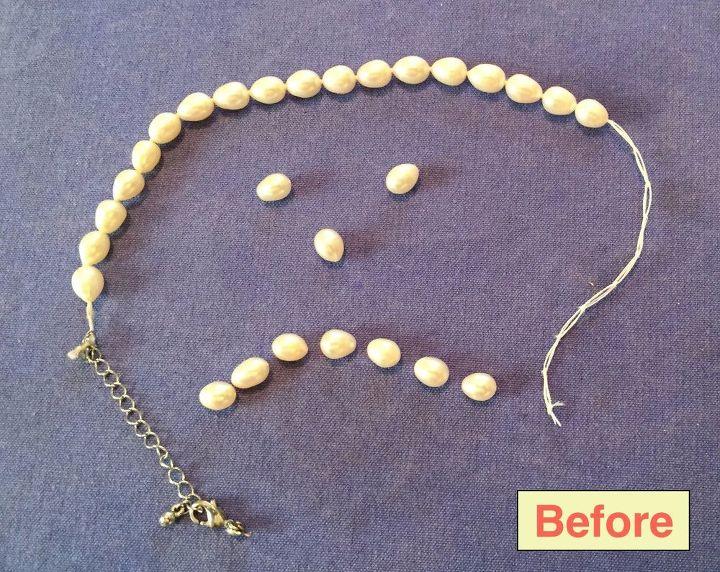 repair a broken pearl necklace string