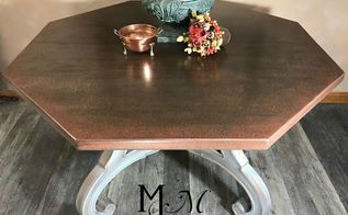 hammered copper finish dining table