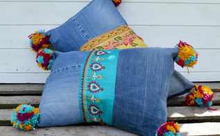 gorgeous boho style recycled denim pillows