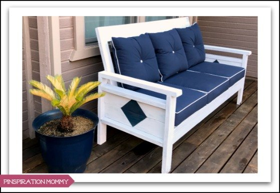 diy outdoor sofa with weathered white finish