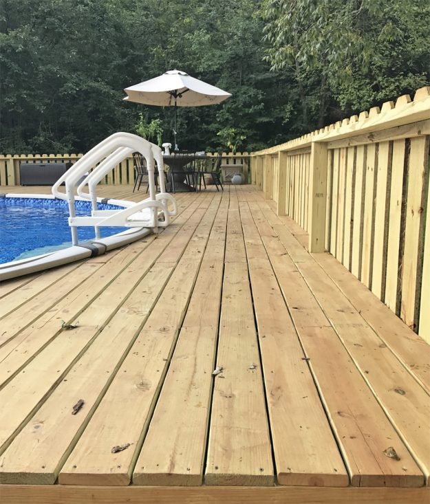 above ground pool deck makeover