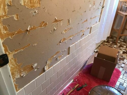 Took Off The Tiles On All Walls With Exception Of Tub Surround That