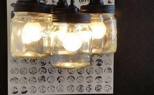 chandelier diy with consol mason glass jars