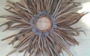 driftwood and sea glass sunburst