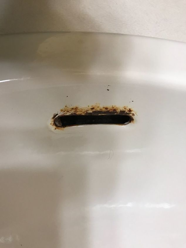 I Have Rust Near The Overflow Hole On My Bathroom Sink How Do I Fix