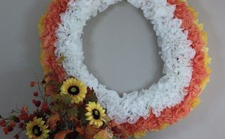 happy fall wreath using pool noodles and coffee filters