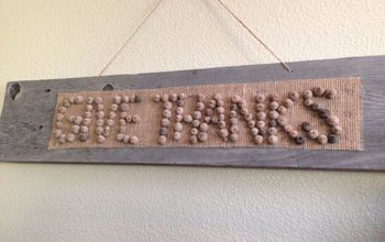 """Give Thanks"" Barn Wood and Acorn Sign"