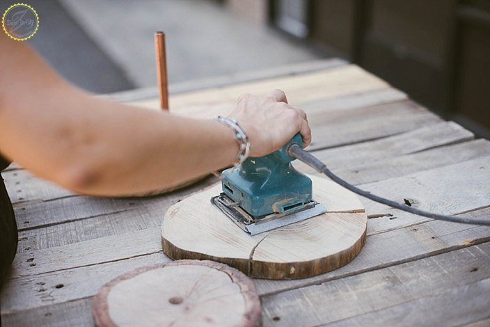 diy copper and wood slice dessert stand