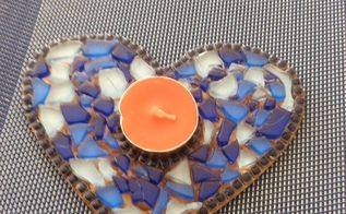 how to make a mosaic heart candle holder