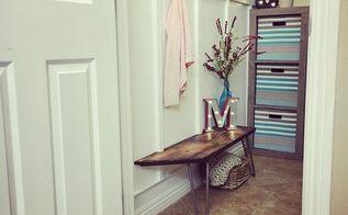 mini mudroom in a closet